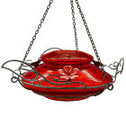 Hummingbird Feeder With Perching Ring Red Crackle Glass