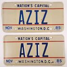 AZIZ NAME VANITY LICENSE PLATE PAIR WASHINGTON DC VINTAGE 1985