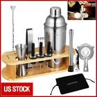 17x Bartender Kit Cocktail Shaker Set Stainless Steel Bar Tools w Bamboo Stand