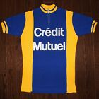 vintage wool 70s Crdit Mutuel cycling jersey size 4 maillot cycliste Sailly Bac