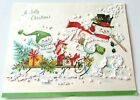 Vtg Christmas Card Textured Glittery Snowman Couple on Sled with Presents Tree