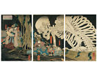 Japanese Art 3 Panel Print Triptych In the Ruined Palace at Sma by Kuniyoshi