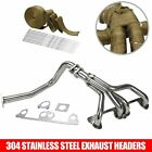 Stainless Manifold Header w/ Downpipe Fits Jeep Wrangler YJ 91-95 2.5L L4 + Wrap