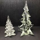 Vintage 1960s Clear Solid Art Glass Heavyweight Trees Set of 2
