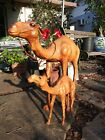 2 Antique Leather Wrapped Camel Figures Statue Egyptian Middle Eastern 13 22