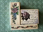 Flowers Roses Gardening Nature Borders Background Rubber Stamps Cards LOT NEW
