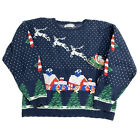 Vintage Sweater Christmas Sweater Pullover Knit Scallop Nativity Medium