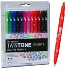 Tombow Twintone Brights Markers 61500 Dual Tip 12 Marker Set