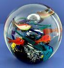Art Glass Paperweight Tropical Fish Aquarium Swirl Ball Orb Bubble 325 inches