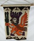 Vintage Unique Art Hand Woven Knit Wall Hanging Tapestry Mayan Aztec Native