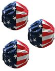 United States Flag Face Mask Washable Reusable Adult Unisex 3 Pack Made in USA