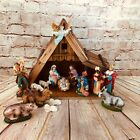 Vtg Musical Nativity Scene w Light Mache Figures Japan Holiday Religious Decor