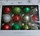 New Pier 1 Imports Box of 24 Glitter Glass Ornaments Christmas Holiday