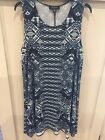 Ladies KAREN KANE Sun Dress Made In USA. XL Multi Color Blue Black White