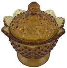 Colonial Amber Fenton Hobnail Candy Dish Lidded  Raised Scalloped Edge 7 Inches