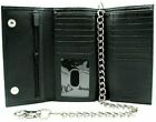 RFID Blocking Leather Biker Trifold Chain Wallet Long Checkbook Black Tan Brown