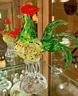 Vintage Murano Hand Blown Glass Colorful Rooster 9 Figurine