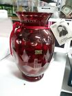 Vintage Bohemian Ruby Red cut to clear glass Egermann Czec Vase