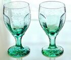 Vintage Set of 2 Libbey Green Mint Pressed Glass Water Wine Glasses Goblets