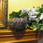 MINT BEAUTIFUL LILY OF THE VALLEY BLUE CARNIVAL GLASS FENTON ROSE BOWL MARKE