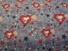 Blue Snoopy Hearts Patriotic Fourth Of July Cotton Fabric BTY