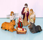 Christmas Nativity Figurine Mary Joseph Baby Jesus Kings Shepherd Cow Donkey 7pc