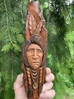 Wood Spirit Carving Indian Native American Rustic Cabin Western Art JD Rogers