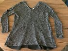 Moa Moa S Womens Black white w polyester solid black insert Long Sl Knit Top