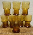 LIBBEY Amber Glass 5 Country Garden Daisy Flowers Set Of 8 Mint Condition