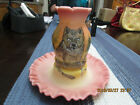 RARE ONE PIECE FENTON FAIRY LAMP  HAND PAINTED  SIGNED