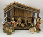 Vintage Sears Christmas Nativity Manger Set 11 Figurines 71 97136 Made In Italy