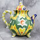 Anthropologie Blackbird Whimsical Four Footed Teapot Rainbow Alice in Wonderland