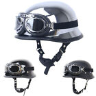 German Motorcycle Half Helmet w Pilot Goggles Scooter Chopper S M L XL XXL DOT