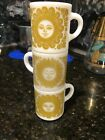 VINTAGE 2 1950 CELESTIAL MILK GLASS MUGs AWAKE ASLEEP SUN FACE Celestial Stack