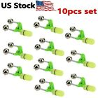 10 PCS LED Night Fishing Bite Bait Alarm 2 Bells Light Rod Tip Clip Alert Ring