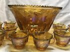 INDIANA GRAPE HARVEST GOLD MARIGOLD CARNIVAL GLASS PUNCH BOWL w 12 CUPS