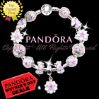 Authentic Pandora Bracelet Silver with Pink Flowers Magnolia European Charms New