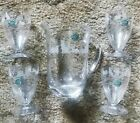 New LENOX Italy 4 Etched Fine Crystal Cat Glasses Plus Matching Pitcher