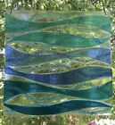 Stained Glass Abstract Blue and Turquoise Ocean Waves Handmade Window Panel