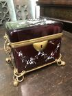 Victorian Gilded Red Glass Box Handmade Ornate Hand Painted Floral And Butterfly