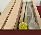 ART GLASS YELLOW LONG STEM 19 FLOWER SIX BLOOMS NIB Two to Box