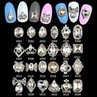 100pcs 3D Nail Jewelry Glitter Glass Gems Alloy Bows Strass Manicure Art Charms