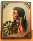 Native America Indian Wooden Portrait Round Quartz Battery Wall Clock Signed