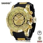 Men's Shhors Watch Gold Toned Rubber Band #80082 Stainless Steel Back **NEW**