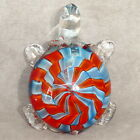 Art Glass Figurine TURTLE Large 04 Orange  Blue 7