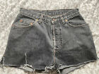 DISTRESSED LEVIS VINTAGE WOMENS HIGH WAISTED DENIM SHORTS W32 10 12