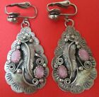 NATIVE AMERICAN INDIAN OLD PAWN EARRINGS PINK MOTHER OF PEARL STERLING SILVER