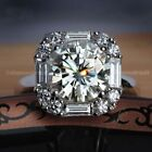 Certified 400 Ct Round Cut White Moissanite Halo Engagement Ring 14k White Gold
