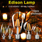 10x Classic Edison Filament LED Bulb Glass Chandelier Candle Globe Lamp E27 E14