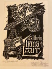 SIGNED SCHMIDT WOODCUT BOOKPLATE A very large and dynamic woodcut ex libris